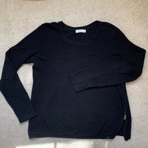 Vince black crewneck sweater with side zipper